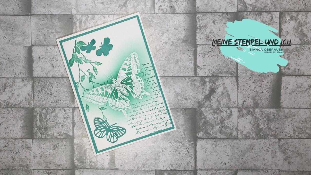 Abklebetechnik – das Stempelset Butterfly Brilliance eignet sich hervorragend dafür