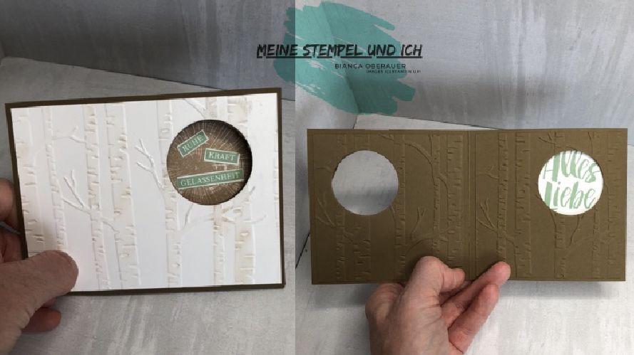 Peek-a-boo Karte mit Schiebefenster